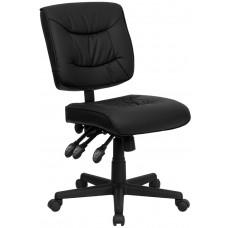 Mid-Back Black Leather Multifunction Swivel Task Chair [GO-1574-BK-GG]