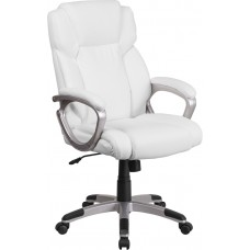 Mid-Back White Leather Executive Swivel Chair with Padded Arms [GO-2236M-WH-GG]