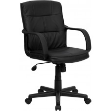 Mid-Back Black Leather Swivel Task Chair with Arms [GO-228S-BK-LEA-GG]