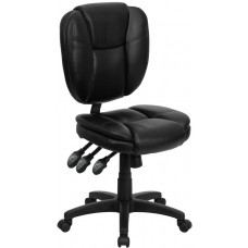 Mid-Back Black Leather Multifunction Ergonomic Swivel Task Chair [GO-930F-BK-LEA-GG]