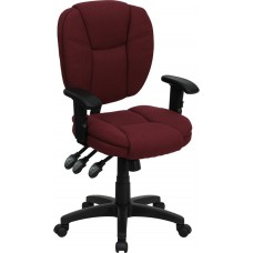 Mid-Back Burgundy Fabric Multifunction Ergonomic Swivel Task Chair with Adjustable Arms
