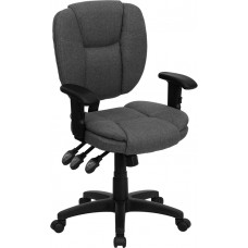 Mid-Back Gray Fabric Multifunction Ergonomic Swivel Task Chair with Adjustable Arms