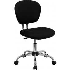 Mid-Back Black Mesh Swivel Task Chair with Chrome Base [H-2376-F-BK-GG]