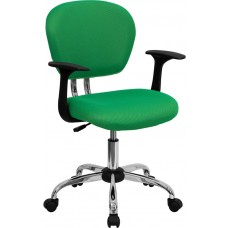 Mid-Back Bright Green Mesh Swivel Task Chair with Chrome Base and Arms [H-2376-F-BRGRN-ARMS-GG]