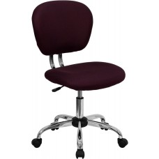 Mid-Back Burgundy Mesh Swivel Task Chair with Chrome Base [H-2376-F-BY-GG]