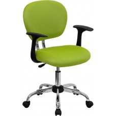 Mid-Back Apple Green Mesh Swivel Task Chair with Chrome Base and Arms [H-2376-F-GN-ARMS-GG]