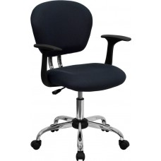 Mid-Back Gray Mesh Swivel Task Chair with Chrome Base and Arms [H-2376-F-GY-ARMS-GG]