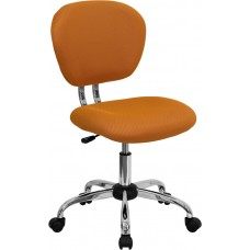 Mid-Back Orange Mesh Swivel Task Chair with Chrome Base [H-2376-F-ORG-GG]