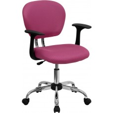 Mid-Back Pink Mesh Swivel Task Chair with Chrome Base and Arms [H-2376-F-PINK-ARMS-GG]