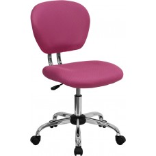 Mid-Back Pink Mesh Swivel Task Chair with Chrome Base [H-2376-F-PINK-GG]