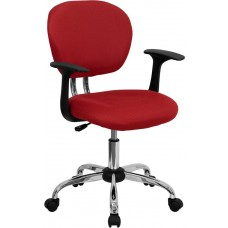 Mid-Back Red Mesh Swivel Task Chair with Chrome Base and Arms [H-2376-F-RED-ARMS-GG]