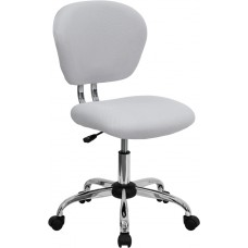 Mid-Back White Mesh Swivel Task Chair with Chrome Base [H-2376-F-WHT-GG]