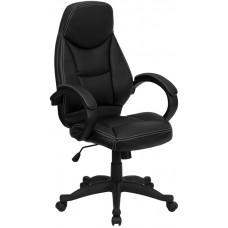 High Back Black Leather Contemporary Executive Swivel Chair with Arms [H-HLC-0005-HIGH-1B-GG]