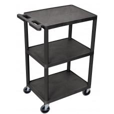 Luxor 3 Shelf Utility Cart Black