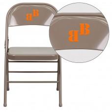 Personalized HERCULES Series Triple Braced & Double Hinged Beige Metal Folding Chair [HF3-MC-309AS-BGE-TXTEMB-VYL-GG]