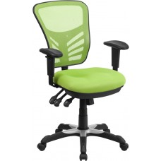 Mid-Back Green Mesh Multifunction Executive Swivel Chair with Adjustable Arms [HL-0001-GN-GG]