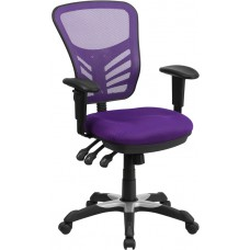 Mid-Back Purple Mesh Multifunction Executive Swivel Chair with Adjustable Arms [HL-0001-PUR-GG]