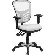 Mid-Back White Mesh Multifunction Executive Swivel Chair with Adjustable Arms [HL-0001-WH-GG]