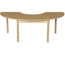 "24"" x 76"" Half Circle High Pressure Laminate Table with Hardwood Legs-29"""