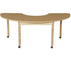 "Mobile 24"" x 76"" Half Circle High Pressure Laminate Table with Hardwood Legs-26"""