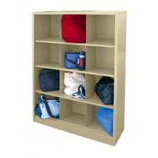 "Sandusky® 66""H x 46""W x 18""D Steel Cubby Storage Organizer, 12 Compartment, Red"