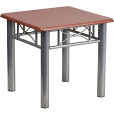 Mahogany Laminate End Table with Silver Steel Frame [JB-5-END-MAH-GG]
