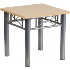 Natural Laminate End Table with Silver Steel Frame [JB-6-END-NAT-GG]