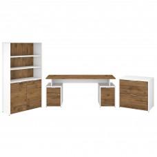 Bush Business Furniture Jamestown 72W Desk with Storage, File Cabinets and 5 Shelf Bookcase