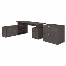 Bush Business Furniture Jamestown 72W L Shaped Desk with Drawers and Lateral File Cabinet