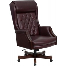 High Back Traditional Tufted Burgundy Leather Executive Swivel Chair with Arms [KC-C696TG-GG]