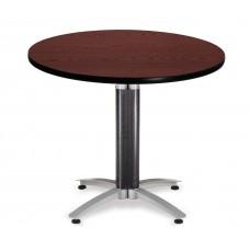 "OFM Round Multi-Purpose Mesh Base Table, 36"", Mahogany"