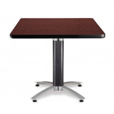 "OFM Square Multi-Purpose Mesh Base Table, 36"", Mahogany"