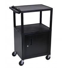 Luxor Black Endura 3 Shelf A/V Cart W/ Cabinet