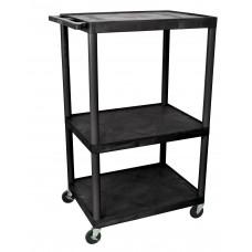 Luxor Black Endura 3 Shelf A/V Cart