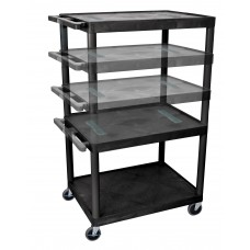 Luxor Black Endura Multi-Height 3 Shelf A/V Cart