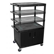 Luxor Black Endura Multi-Height 3 Shelf A/V Cart W/ Cabinet