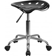 Vibrant Black Tractor Seat and Chrome Stool [LF-214A-BLACK-GG]
