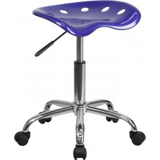 Vibrant Deep Blue Tractor Seat and Chrome Stool [LF-214A-DEEPBLUE-GG]