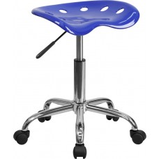 Vibrant Nautical Blue Tractor Seat and Chrome Stool [LF-214A-NAUTICALBLUE-GG]