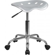 Vibrant Silver Tractor Seat and Chrome Stool [LF-214A-SILVER-GG]
