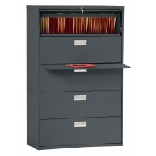 "Sandusky 36"" Lateral File, 5-Drawer, Forest Green"