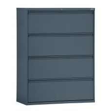 "Sandusky® 800 Series 53 1/4""H x 36""W x 19 1/4""D Steel Full Pull Lateral File, 4 Drawer, Charcoal"
