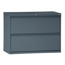 "Sandusky® 800 Series 28 3/8""H x 42""W x 19 1/4""D Steel Full Pull Lateral File, 2 Drawer, Black"