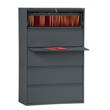 "Sandusky® 800 Series 66 3/8""H x 42""W x 19 1/4""D Steel Full Pull Lateral File, 5 Drawer, Black"