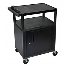 "Luxor Endura 3 Shelf Black Presentation Cart W/ Cabinet 35 1/4""H"