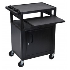 Luxor Endura Black 3 Shelf Presentation Cart W/ Cabinet & Pullout Shelf