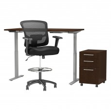 Move 60 Series by Bush Business Furniture 60W x 30D Height Adjustable Standing Desk with Storage and Drafting Chair