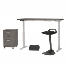 Move 60 Series by Bush Business Furniture 60W x 30D Adjustable Standing Desk with Lean Stool, Storage and Ergonomic Accessories