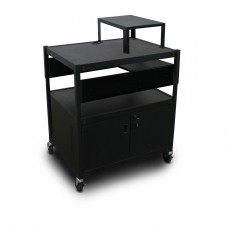 Adjustable Cart with 1 Pull-Out Side-Shelf, Cabinet,  Expansion Shelf, and Electrical