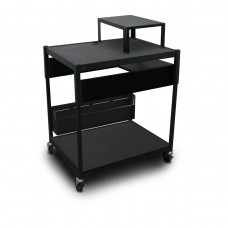 Adjustable Cart with 1 Pull-Out Side-Shelf, Bin, Expansion Shelf, and Electrical
